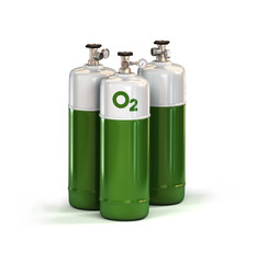 Three Green compressed Oxygen Gas Containers with high pressure regulator. 3d rendering isolated on white background