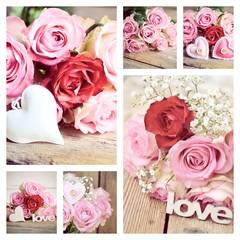 Rosenstrauß - Collage - rosa Rosen - Nostalgisch, Vintage, Retro
