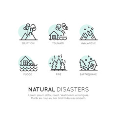 Vector Icon Style Illustration of Natural Disasters, Catastrophe, Global Warming, Flood, Eruption, Earthquake