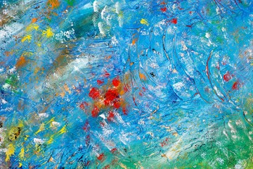 Hintergrund in Blau und Grün mit bunten Bereichen auf Leinwand, Acryl-Struktur-Gel und Gouache-Farbe