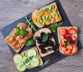 Selection of vegetarian toasts sandwiches