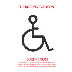 Wheelchair vector icon eps 10. Disabled handicapped isolated simple symbol. Handicap sign.