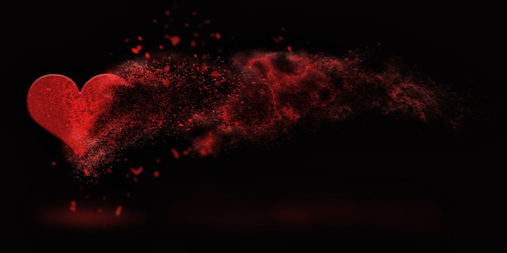 sprinkled sand heart , happy valentine's day - abstract romantic background banner ( love , valentine , wedding )