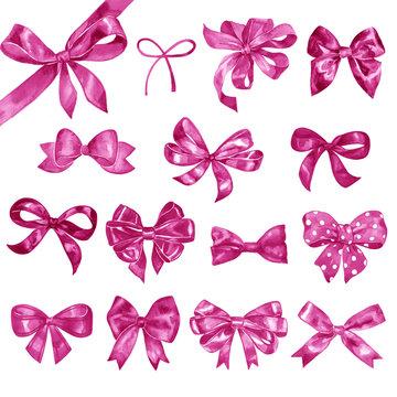 Big set of hand drawn watercolor pink bows.