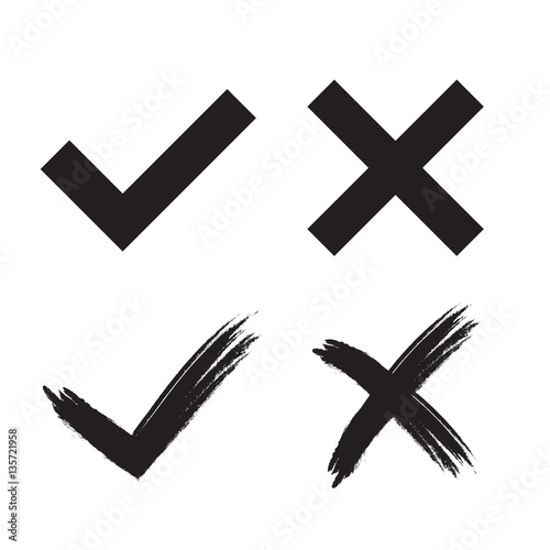 Tick And Cross Grunge And Simple Signs Black Checkmark Ok And X
