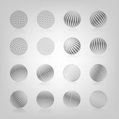 Sphere with halftone fill, vector illustration.