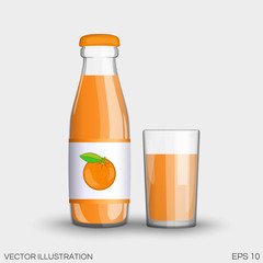 Orange juice in a transparent glass bottle isolated