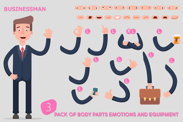 Parts body template for design work and animation. Funny office man cartoon.