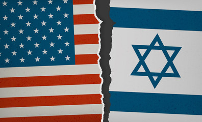 Flag of USA and Israel torn apart - Political Tension, Modern Flat 2.0 Design with paper rip, textures and drop shadow