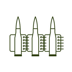 Bullets clip line style. Ammunition sign icon