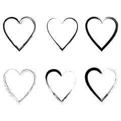 Vector hearts silhouettes. Heart shape design for love symbols