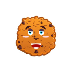 Cookies happy Emoji. biscuit emotion merry. Food Isolated