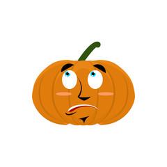 Pumpkin surprised Emoji. Halloween vegetable astonished emotion