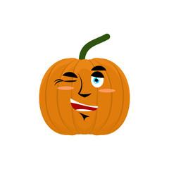 Pumpkin winks Emoji. Halloween and Thanksgiving Day vegetable ch