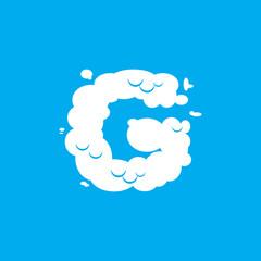 Letter G cloud font symbol. White Alphabet sign on blue sky