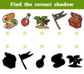 Find the correct shadow. Set of pirate items
