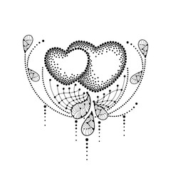 Vector illustration with two dotted heart and decorative lace in black isolated on white background. Design elements and holiday symbols in dotwork style for Valentine day or creative tattoo art.