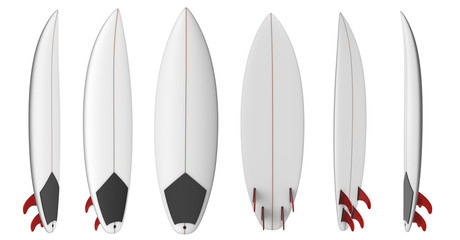 Shortboard blank short surfboard with red fins