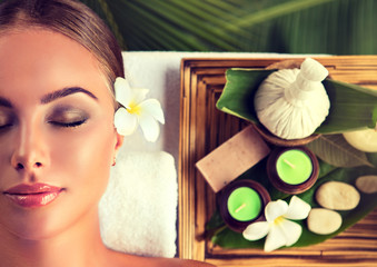 Body care. Spa body massage treatment. The girl relaxes in the spa salon