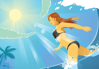 vector illustration of bikini girl running on the beach