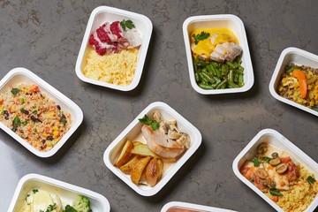 delivery sets of healthy and delicious food in boxes