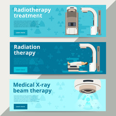 Radiation therapy vector concept. Cancer treatment with radiothe
