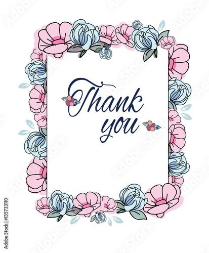 "Beautiful Flower Thank You: ""beautiful Flower Vector Illustration Flower Message Thank"