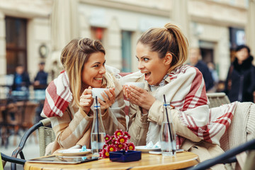 Two young women in a cafe have fun and gossiping