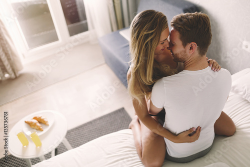 Romantic couple in bed. Romantic couple in bed  Stock photo and royalty free images on