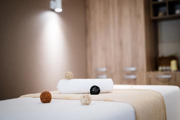 Massage beds in spa resort room