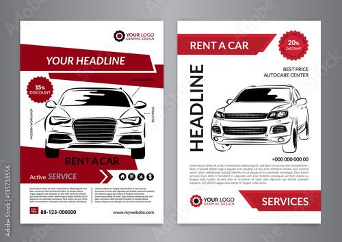 Set A4 Rent A Car Business Flyer Template Auto Service Brochure Templates Automobile Magazine