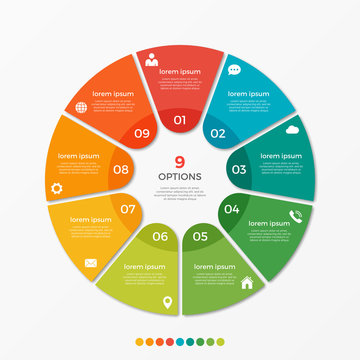 Circle chart infographic template with 9 options  for presentations, advertising, layouts, annual reports