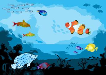Ocean underwater world with tropical animals