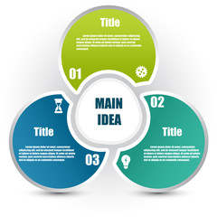 Circle infographic template with 4 steps and central element. Parts of the chart  with icons and numbers. For presentation and design concept. Vector illustration.