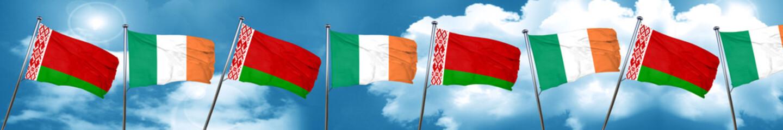 Belarus flag with Ireland flag, 3D rendering