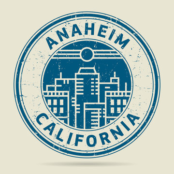 Grunge rubber stamp or label with text Anaheim, California