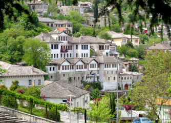 Traditional houses in the Old City of Gjirokaster, UNESCO world heritage site in Albania
