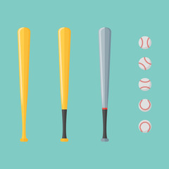 Set of baseball and bats isolated on background. Flat style vector illustration.