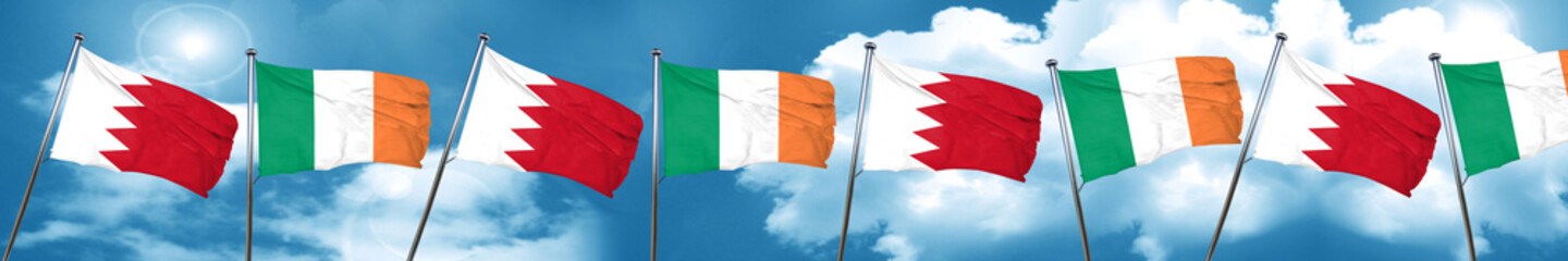 Bahrain flag with Ireland flag, 3D rendering
