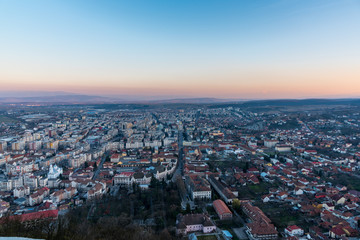 The city of Deva at the sunset