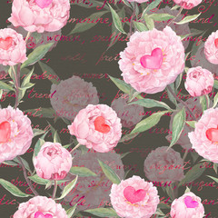 Peony flowers, hearts. Seamless floral pattern. Watercolor