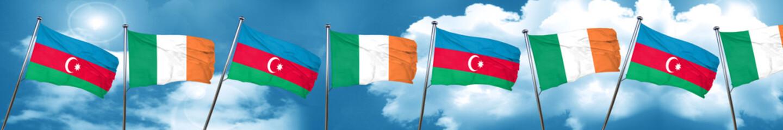 Azerbaijan flag with Ireland flag, 3D rendering