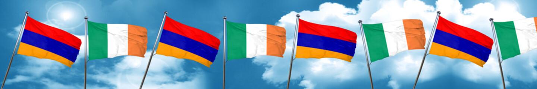 Armenia flag with Ireland flag, 3D rendering