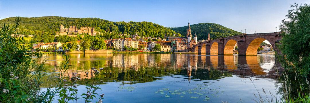 Heidelberg Panorama mit Schloss und Alter Brücke