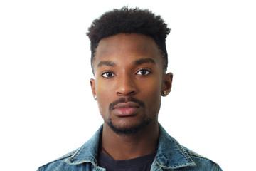 young man portrait studio white background face close-up twenty