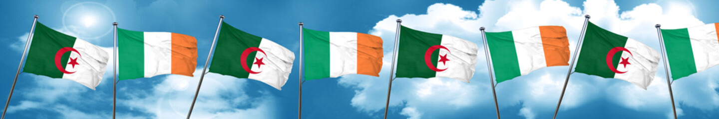 algeria flag with Ireland flag, 3D rendering