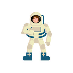 Astronaut winks Emoji. spaceman thumbs up happy emotion isolated