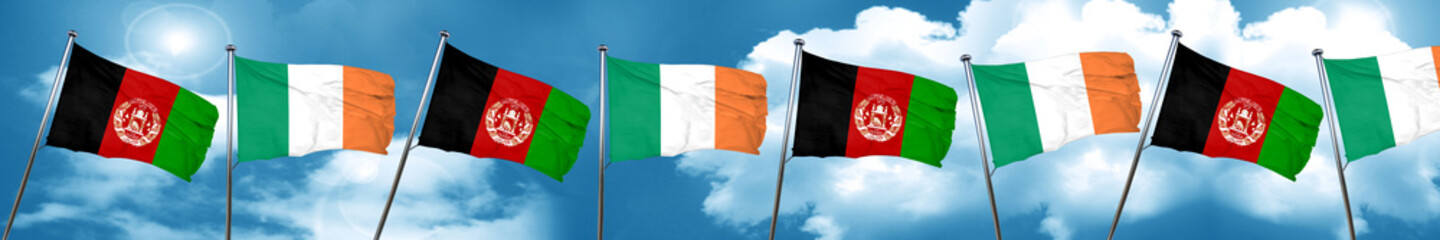 Afghanistan flag with Ireland flag, 3D rendering