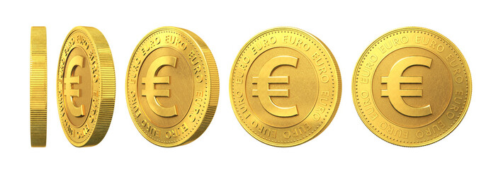 Set of gold coins with euro sign isolated on a white background.