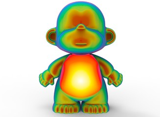 3d illustration of green cartoon monkey. white background isolated. icon for game web.